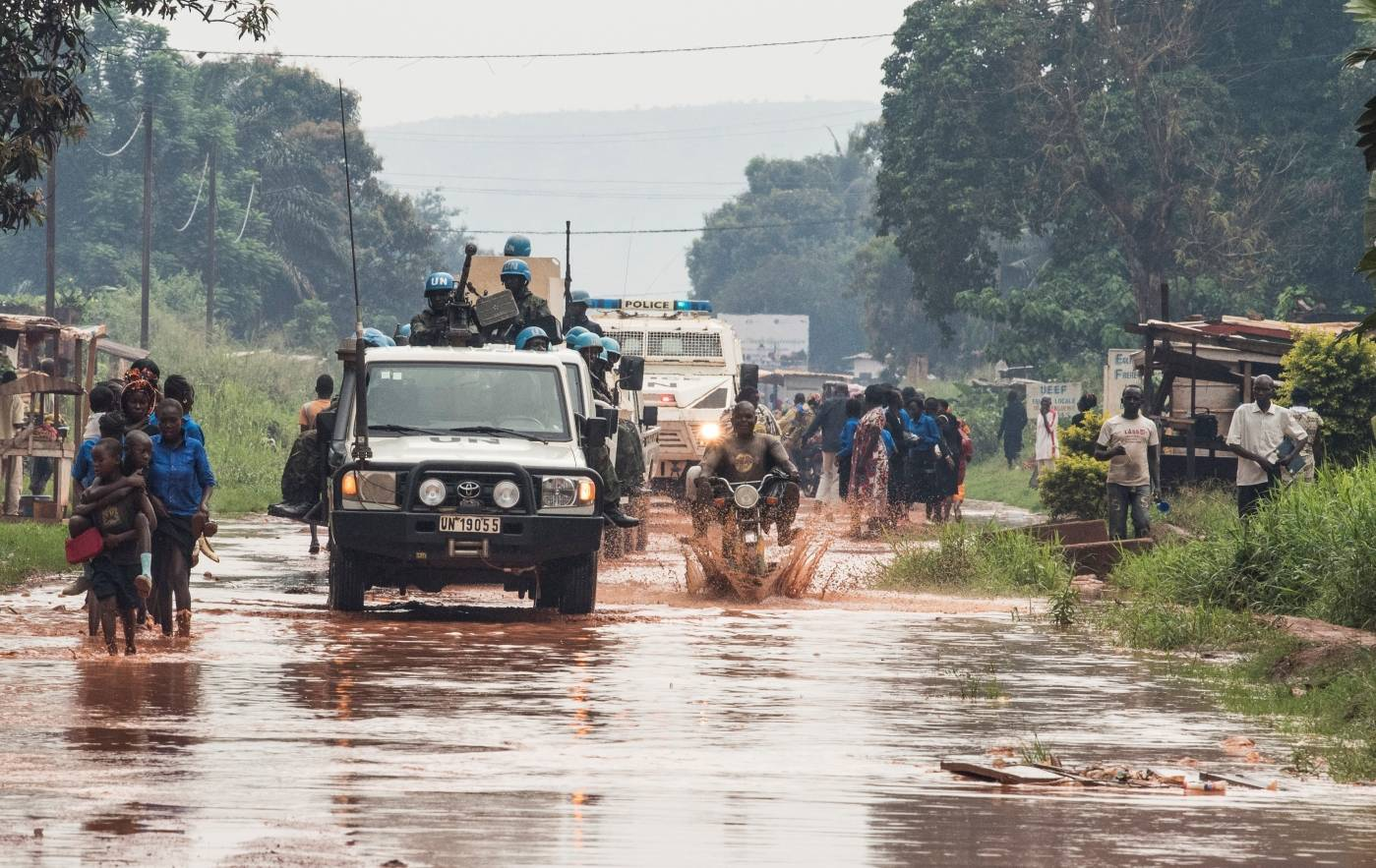 FN:s fredsbevarande styrkor patrullerar i Centralafrikanska republiken. Foto: UN Photo / Eskinder Debebe.