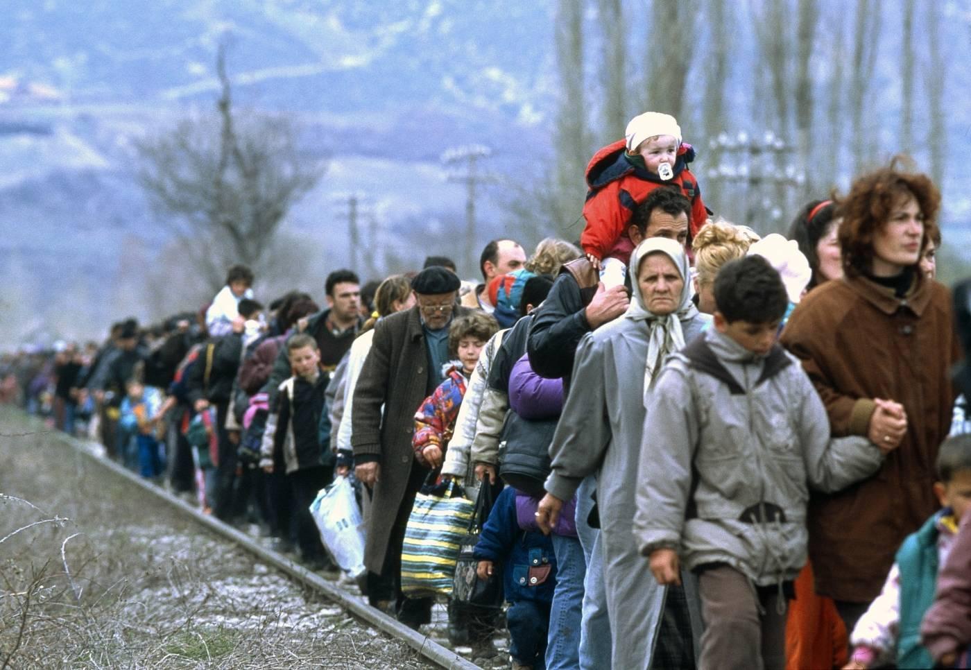 Kosovoiska flyktingar från Blace-området 1999.Foto: UN Photo/UNHCR/R LeMoyne
