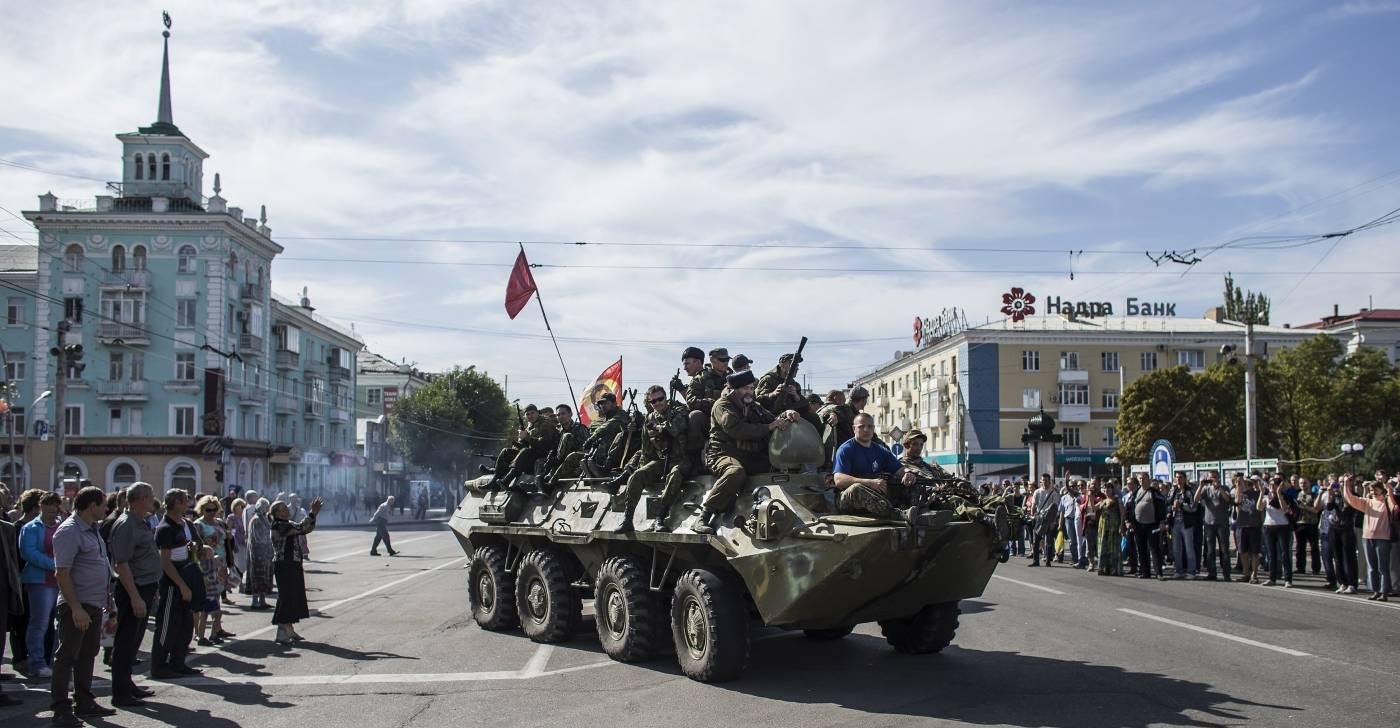 Prorussiske opprørere i Luhansk, øst i Ukraina, september 2014. Foto: NTB Scanpix/Reuters/Marko Djurica.
