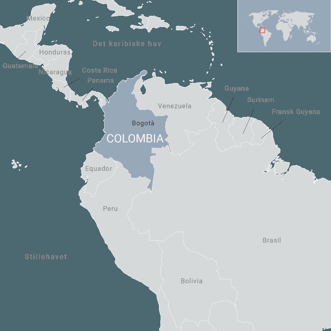 Karta över Colombia. Foto: FN-förbundet