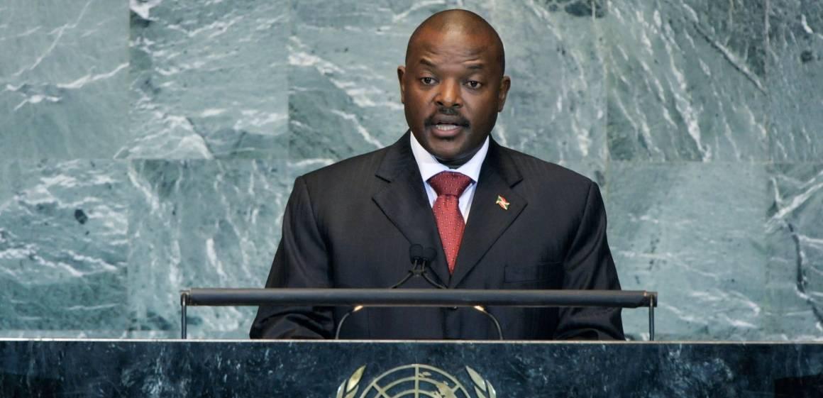 President Pierre Nkurunziza taler for FNs generalforsamling. UN Photo/Lou Rouse