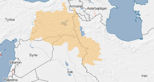 Det oransje feltet markerer et området hvor det bor mange kurdere, og er ofte kalt Kurdistan. Kilde: Globalis