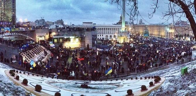 Demonstrasjon på Maidan-plassen i Kiev, hovedstaden i Ukraina, 8. desember 2013.